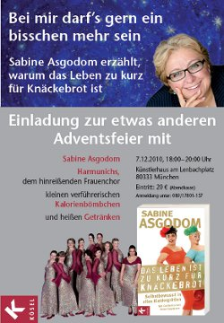 Sabine Asgodom läd zu einer besonderen Adventsfeier